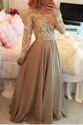 Ladylike Off-The-Shoulder Long Sleeve Spliced Maxi Dress For Women in Brown | Sammydress.com Mobile