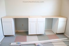 DIY Craft Room Desk Tutorial - 10 ft. wide double desk, custom built and finished with cool detailing. All VERY clearly explained with lots of photos! Would work as well for Home Office!