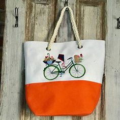 Canvas Tote Embroidered Bicycle Beach tote Towel Bag#ComfortandGrins#Embroidered bike#CanvasTote
