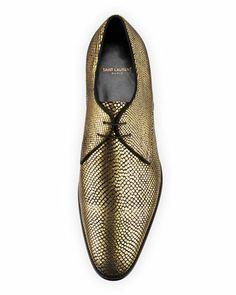 Saint Laurent New Blake Metallic Derby Shoe