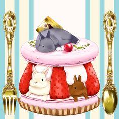 P-f Lilac, Strawberry, Macaron, Silverware, Rabbit Art Kawaii, Cute Animal Drawings Kawaii, Kawaii Drawings, Cute Drawings, Kawaii Anime, Bunny Art, Cute Bunny, Chibi Food, Rabbit Illustration