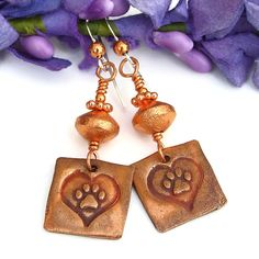 #Dog Rescue Copper #PawPrint and Hearts #Earrings, #Handmade Artisan Dangle Jewelry by @ShadowDog #ShadowDogDesigns #Indiemade #Butterflyspin - $30.00 - SOLD
