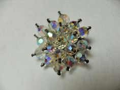 Beaded crystal brooch, clear rhinestone bead brooch, high fashion, vintage jewelry, hipster scarf pin, gift for her, GIngerslittlegems by GingersLittleGems on Etsy