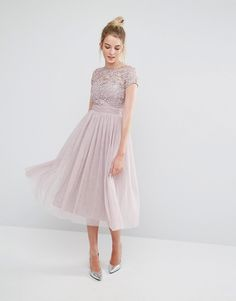 Little Mistress Tall Short Sleeve Lace Bodice Midi Dress With Tulle Skirt