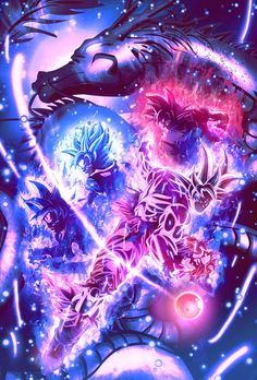 Goku Super Sayian God, Super Sayian God Blue, Ultra Instinct and Master Ultra Instinct.