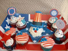 Celebrate the 4th with Uncle Sam and Red, White and Blue Cupcakes from #Walmart Mom Liz.