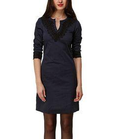 Another great find on #zulily! Navy & Black Embellished Regina Dress by Almatrichi #zulilyfinds