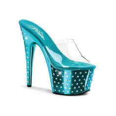 a7b40bfe6ce6 Pleaser Women s Stardust 701 Clear Turquoise Chrome Size 11 M