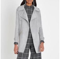 Checkout this Light grey faux suede longline trench coat from River Island
