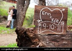 wood signs, great for rustic wedding or engagement shoot :  wedding Save The Date Photo