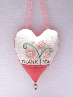 Thank You embroidered heart pillow with button flowers by Susan Stahl