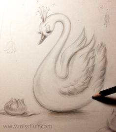 Swan with a tiara ✨Drawing in progress. Original Art by Claudette Barjoud, a.k.a Miss Fluff. www.missfluff.com #swans #fairytaleart #retroart #vintageswan #missfluff