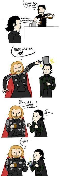 Thor and Loki by ~CJPetee.And Thor wonders why Loki now hates him Funny Marvel Memes, Dc Memes, Marvel Jokes, Funny Cartoons, The Avengers, Avengers Memes, Loki Thor, Tom Hiddleston Loki, Loki Laufeyson