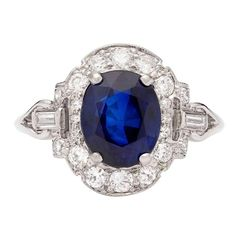 Natural Blue Sapphire Estate Ring | From a unique collection of vintage cocktail rings at https://www.1stdibs.com/jewelry/rings/cocktail-rings/