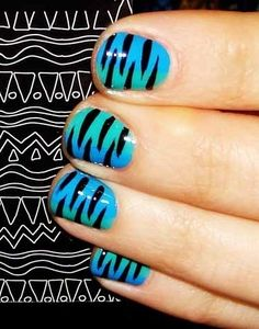 Animal Print Nail Art. I love the gradient with the zebra!