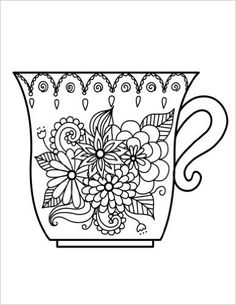 Blank Book Journal: Cup Zentangle Cover Diary Notebook: x 11 size 120 gray lined pages! Color The Cover! (Color the Cover Journals) (Volume Disney Coloring Pages, Colouring Pages, Adult Coloring Pages, Coloring Books, Coffee Doodle, Zen Doodle, Sketchbook Challenge, Coffee Heart, Wood Burning Art