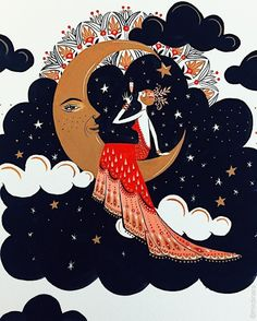Lady in red on half moon art print illustration иллюстрации, Gouache Painting, Painting Prints, Art Prints, Paintings, Character Illustration, Illustration Art, Art Rouge, Bohemian Art, Red Art
