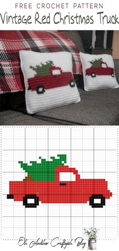 Free crochet pattern for the Vintage Red Christmas Truck, # . Free crochet pattern for the Vintage Red Christmas Truck, Always . Crochet Christmas Gifts, Christmas Pillow, Christmas Knitting, Crochet Gifts, Free Crochet, Christmas Crochet Blanket, Christmas Cross Stitches, Crochet Christmas Stockings, Knitted Christmas Stocking Patterns