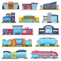 Buy Building Mall Vector Storefront of Newbuild Mall by vectoristik on GraphicRiver. Building mall vector storefront of newbuild mall and store facade illustration set of business officebuilding of city. Architecture Concept Drawings, School Architecture, Architecture Background, Hotel Room Design, Shop Interior Design, Facade Design, Exterior Design, Warehouse Design, Mall Design