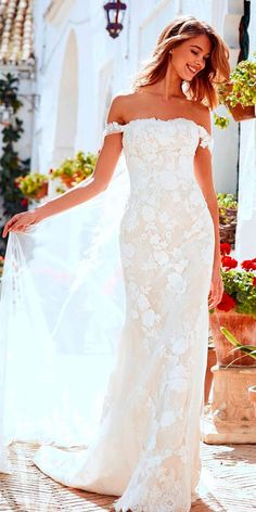 10 Best Wedding Dress Designers For 2017 ❤ wedding dress designers lace off the shoulder sheath pronovias ❤ See more: http://www.weddingforward.com/wedding-dress-designers/ #wedding #bride