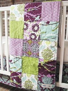 Minky Toddler Quilt, Aviary 2 in lilac, Girl, PLUSH for baby, fresh modern handmade baby bedding