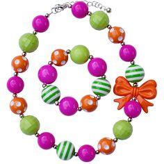 Pink Orange & Green Chunky Jewelry Set