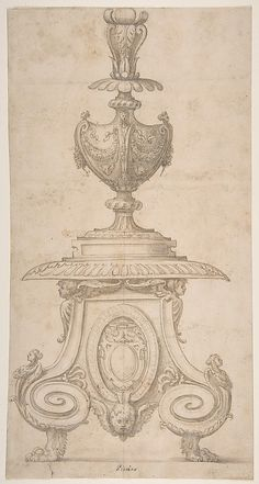 Design for an Altar Candlestick (no date); Perino del Vaga (Pietro Buonaccorsi) (Italian, 1501–1547); Pen and brown ink, brush and brown wash, over leadpoint; Metropolitan Museum of Art, New York