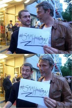 Mads Mikkelsen with Hugh Dancy in Berlin.