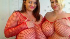 Maria Moore Lingerie   AVI-Maria Moore & Samantha38g RedFishnst Nipple Play- Two #BigBoob ...
