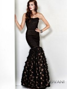 Jovani 6620 - Long, strapless black mermaid evening gown for formal occasions.  From Madame Bridal.