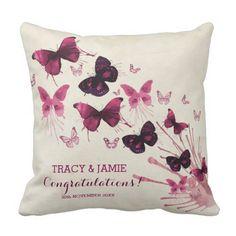 Wedding Anniversary Watercolor Pink Butterflies Throw Pillow