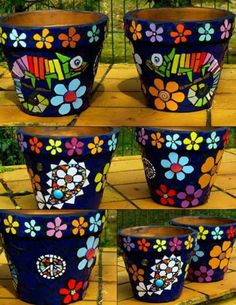 mosaic flower pot. cute chameleons More