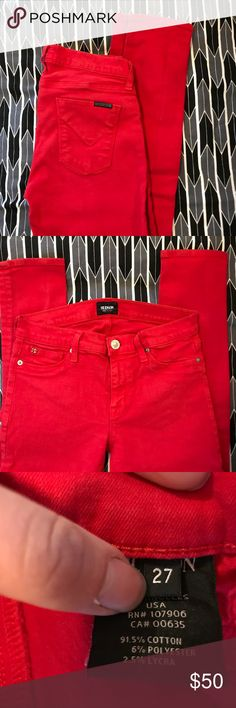Hudson skinny jeans RED! Hudson skinnies! Good condition! Hudson Jeans Jeans Skinny