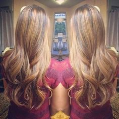 Caramel brown highlights with dark brown low lights.