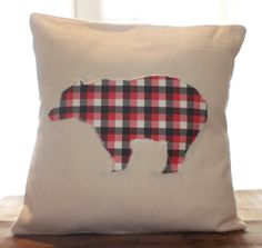 Plaid Bear Pillow by CCurate on Etsy