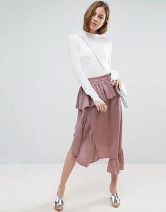 ASOS Deconstructed Midi Skirt in Satin - Brown