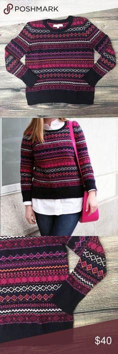 """LOFT Fair Isle crewneck Sweater Sangria Sz Small From Ann Taylor LOFT, Fair Isle patterned sweater is just right pop of color for the winter blues. In a pattern called Sangria that was a quick sellout, you'll find navy, pink, coral, peach & plum tones that look great paired with favorite denim or a knife-pleated skirt for the office party. Crewneck, boxy style, plenty of room to add a shirt underneath, slit at hem. Cotton/poly/nylon/wool/spandex blend. approx 18"""" bust/pit to pit, 22"""" length…"""