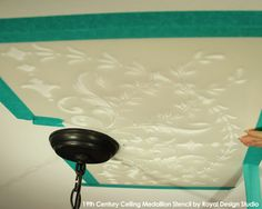 Tips on stenciling a ceiling | 19th Century Medallion Stencil by Royal Design Studio