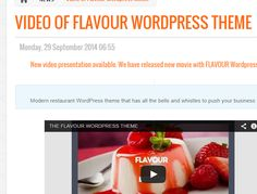 "Watch our latest video of ""Flavour"" Modern #restaurant #WordPress theme."