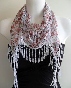 White and Red Flowered Elegance Shawl / Scarf with by SwedishShop, $14.90