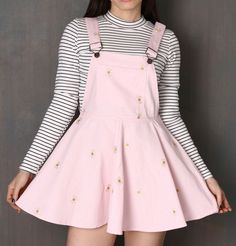 kawaii clothes Pale Pink Daisy Pinafore - Fashion Source by deeoutaspace - Legging Outfits, Cute Skirt Outfits, Cute Outfits With Leggings, Outfits Casual, Cute Teen Outfits, Cute Winter Outfits, Pink Outfits, Hipster Outfits, Korean Outfits