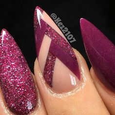 Almond shaped nail design with burgundy purple gel polish, glitter, and line art! Beautiful nails sculpted by Ugly Duckling Nails page is dedicated to promoting quality, inspirational nails created by International Nail Artists # Fabulous Nails, Gorgeous Nails, Love Nails, Fun Nails, Almond Shape Nails, Almond Acrylic Nails, Almond Nails, Acrylic Nail Designs, Nail Art Designs