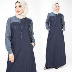 Beautiful fine denim Jilbab mixed with melange jersey. Simple & versatile with a classic mix of fabrics, perfect for all your casual occasions Denim Abaya, Abaya Designs, Abaya Style, Islamic Clothing, Abaya Fashion, Abayas, Hijab Outfit, Super Excited, Love Design