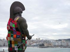 """ok I know, the statue has been """"yarn bombed"""" lol not your typical street art.but still someone's artistic expression.and some """"yarn bombs"""" have been on the ground and on walls! Crochet Cardigan, Crochet Yarn, Knitting Yarn, Yarn Bombing, Guerilla Knitting, Unusual Hobbies, Crochet Humor, Feminist Art, Stencil Art"""
