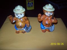 Rare, Japan H-415 Smokey the Bear Salt & Pepper Shakers