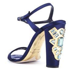 Oscar de la Renta Marine Blue Satin Lemmy Sandals With Embellished... ($890) ❤ liked on Polyvore featuring shoes, sandals, ankle strap sandals, high heel shoes, blue jeweled sandals, blue sandals and blue shoes
