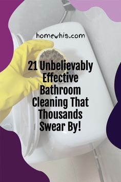 Maintaining a clean bathroom is an important routine that keeps the home smelling good and looking clean. Here are 21 bathroom cleaning hacks that will make cleaning your bathroom so much easier and with less sweat. Visit the blog post to see all 23 bathroom cleaning hacks to clean, disinfect and deodorize your bathroom. #homewhis #cleaninghacks #bathroomcleaning #cleaningtips #cleaning #cleanbathroom #smellhacks #bakingsodacleaning #cleaningschedule Bathroom Sink Organization, Fridge Organization, Bathroom Cleaning Hacks, Home Organization Hacks, Organizing Your Home, Baking Soda Cleaning, Dawn Dish Soap, Dishwasher Detergent, Clean Microfiber