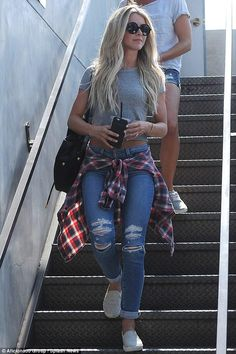 Julianne Hough wearing Shoemint Ashton Slip-Ons and Elizabeth and James Montgomery Sunglasses