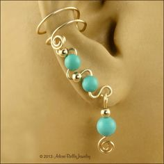 Gemstone and 14KT Gold Filled Pair Ear Cuffs by AdoraBellaJewelry, $28.00