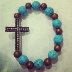 Brass Cross Bracelet with Turquoise and Brass by AroundMyWrist, 12.00  http://www.etsy.com/shop/AroundMyWrist